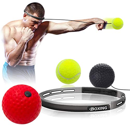 Hoofun Boxen Training Ball, Reflex Fightball, Punch Boxing Ball mit Kopfband,Trainingsgerät Speedball für Boxtraining Zuhause und Outdoor (Schwarz + Rot + Gelb)