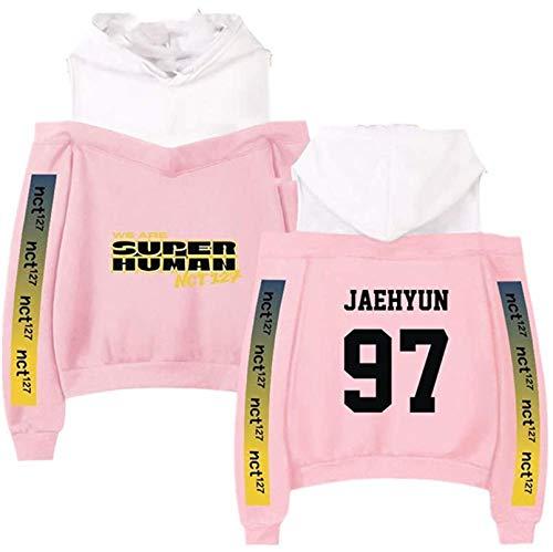 NCT 127 Mercancía Off Sudadera con Capucha KPOPNEW Ropa Pullover Sudadera, el Mejor Recuerdo (Color : Pink Jaehyun, Size : M)