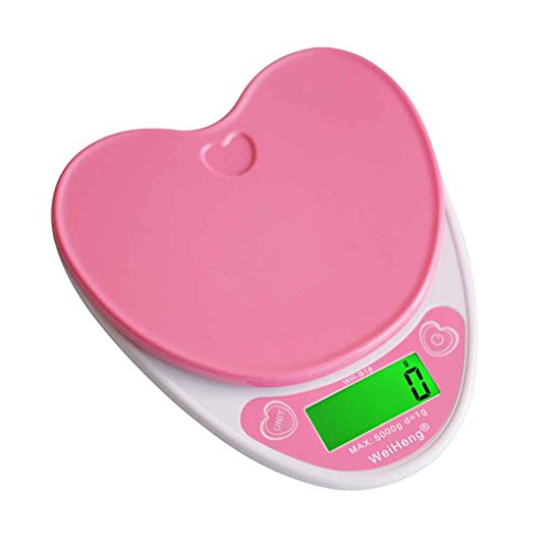 Firiodr WH-B18L 5kg/1g Lovely Heart Shaped Digital Kitchen Scales LCD Food Electronic Scales Cooking Diet Weighing Bench