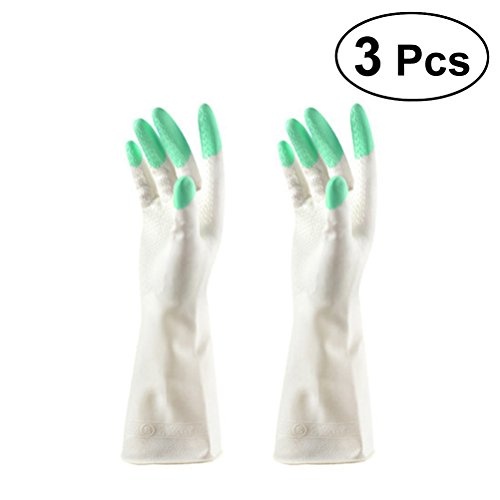 BESTONZON 3 Paar Gummihandschuhe Reinigungshandschuhe Latex für Küche Haushalt Geschirrspülen Putzen Spülen Wäsche - Größe M (Hellgrün)