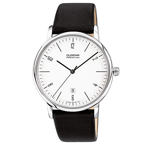 DUGENA Herren-Armbanduhr 7000238 Dessau, Quarz, weißes Zifferblatt, Edelstahlgehäuse, Hart-Acrylglas, Lederarmband, Dornschließe, 3 bar