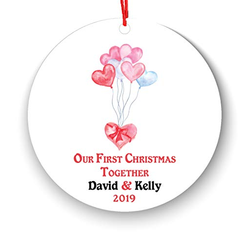 Our First Christmas Together Christmas Ornament Personalized - Heart Balloon Gift Box New Couple Lover 2018-1st 2nd Christmas Ornament First Married - Newlywed 2018