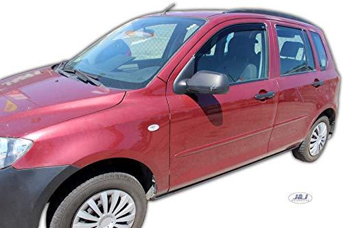 J&J AUTOMOTIVE Windabweiser Regenabweiser für Mazda 2 I 5-türer 2003-2007 2tlg HEKO dunkel