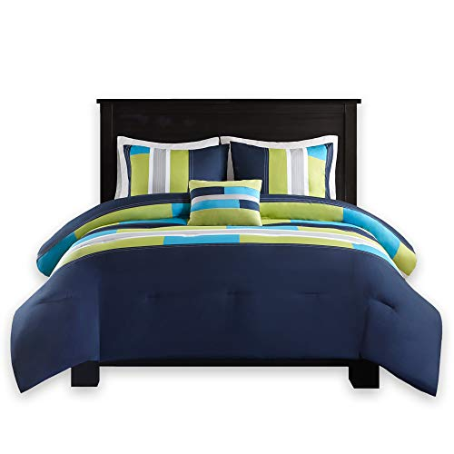 Comfort Spaces - Pierre Comforter Set - 4 Piece - Dark Blue/Navy - Multi-Color Pipeline Panels - Perfect for Dormitory - Boys - Full/Queen Size, Includes 1 Comforter, 2 Shams, 1 Decorative Pillow