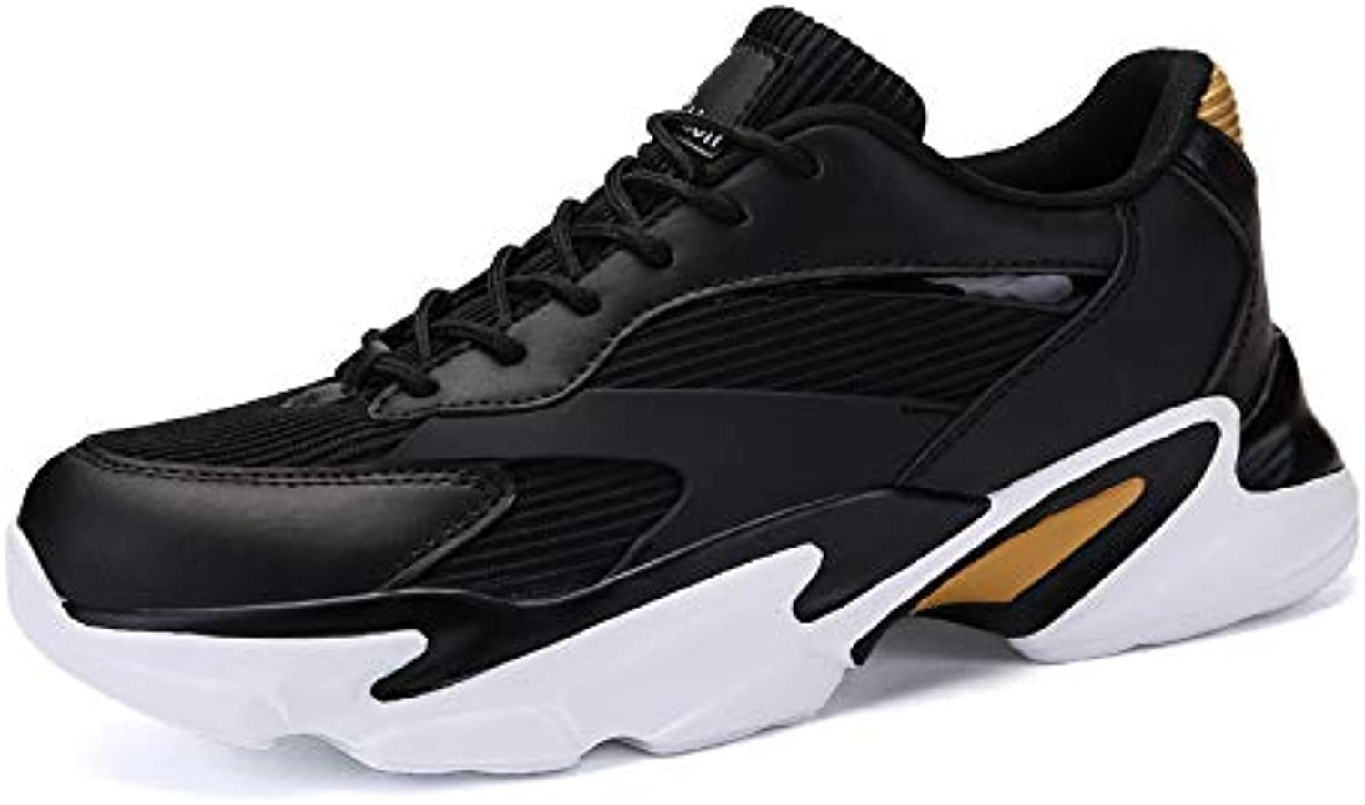 SZF228 Man Sneakers Large size tide shoes spring and autumn casual sports shoes Korean version of the breathable running shoes(black)