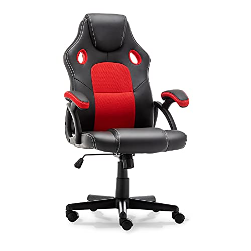 Sedia da gaming, schienale alto, ergonomica, con poggiatesta e supporto lombare, sedia da scrivania regolabile in pelle PU (rosso)