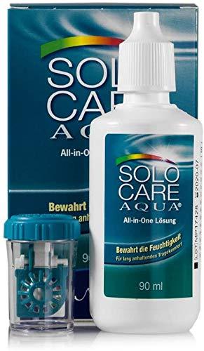 Solocare Aqua Reise-Set (90ml) – Kontaktlinsenflüssigkeit für Weiche Kontaktlinsen – Kombilösung für das Reinigen, Desinfizieren und Aufbewahren der Linse (All-In-One Lösung) (1 x 90ml)