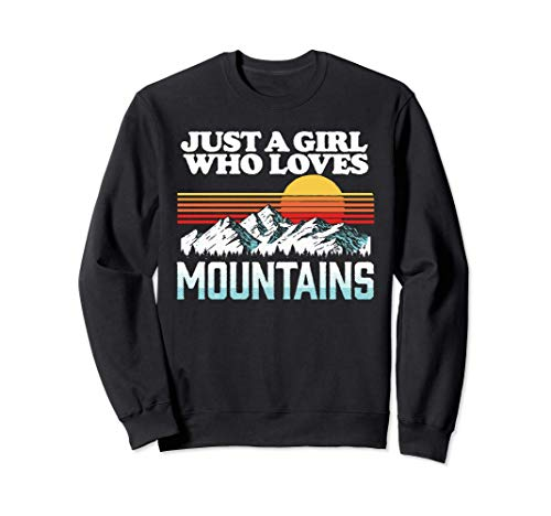 Just a Girl Who Loves Mountains Vintage Outdoor Retro Sunset Sudadera