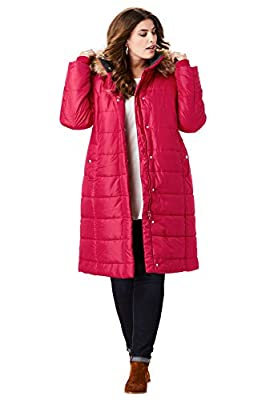 Roamans Women's Plus Size Mid-Length Quilted Parka with Hood - 4X, Classic Red by Roamans