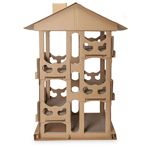 Furhaven Pet Cat Furniture - Corrugated Cat Scratcher Cardboard Tower Playground Condo Hideout Pet House Apartment with Catnip for Cats and Kittens, Cardboard (Brown), One Size