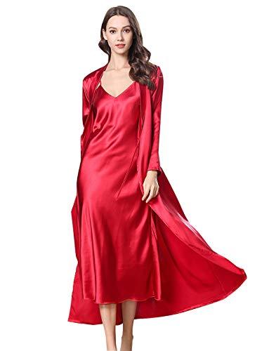 FEOYA Nachthemd mit Morgenmantel Damen Nachtwäsche Damen Satin Set Zweiteilige Nachtkleid und Kimono Pyjama Robe Stücke Sleepwear L Rot