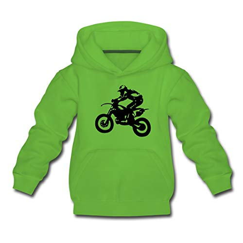 Spreadshirt Biker Cross Enduro Kinder Premium Hoodie, 98-104, Hellgrün