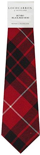 I Luv Ltd Gents Neck Tie Munro Black and Red Modern Tartan Lightweight Scottish Clan Tie