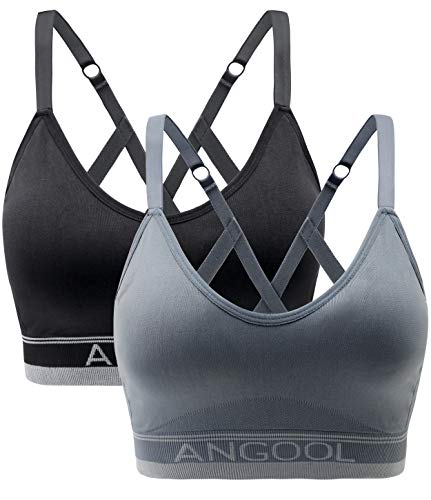 ANGOOL Strappy Sports Bras for Women, Longline Medium Support Yoga Bra Wirefree Padded Sports Bra with Adjustable Straps Black Grey 2 Pack