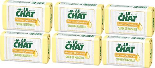 Le Chat - Véritable Savon de Marseille Solide - Douceur Glycérinée - Testé dermatologiquement - Sans Paraben -Pack de 6 savons de 100 g