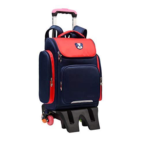 BCXS Kids Trolley Bag Cabin Bag Backpack with Wheels Travel Bag with Wheels, Nylon Material, Waterproof/Wear-Resistant,red,B6 Wheels