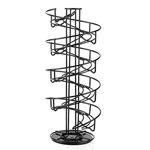 Flexzion Egg Skelter 360 Degree Rotatable Spiral Design Dispenser (Large) Chrome Plated Deluxe Modern Standing Storage Display Rack Organizer Holder for Countertop Kitchen, Black