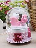 Veigu Night Light Water Globe Snow Globe Crystal Ball Music Box Gift Resin Base (Cat&Rabbit)