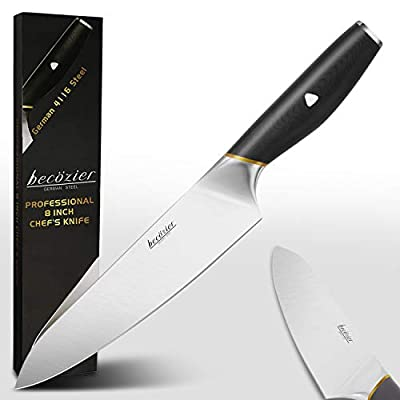 Allezola Professional Chef's Knife, 8 Inch German High Carbon Stainless Steel Cooking Knife, Very Sharp, Balanced Comfortable Handle, Multipurpose Top Kitchen Knife for Home and Restaurant