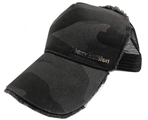 【NewEdition GOLFR】ニューエディションゴルフ・カモフラージュ柄 カモ柄 3D刺繍アスリート ワッペン キャップ サンバイザー メッシュ ゴルフ 帽子 フリーサイズ NEG-299 (ヒゲ・ブラックカモ)