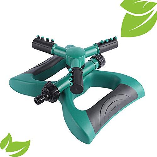 E.YOMOQGG Rociador de jardín, rociador automático de agua para áreas pequeñas y grandes, sistema de riego de 3 brazos giratorio de 360 grados de alto impacto para patio al aire libre (verde)