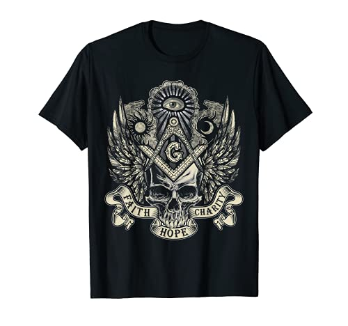 Masonic Skull God's Eye Faith Hope Charity Father's Day Gift T-Shirt