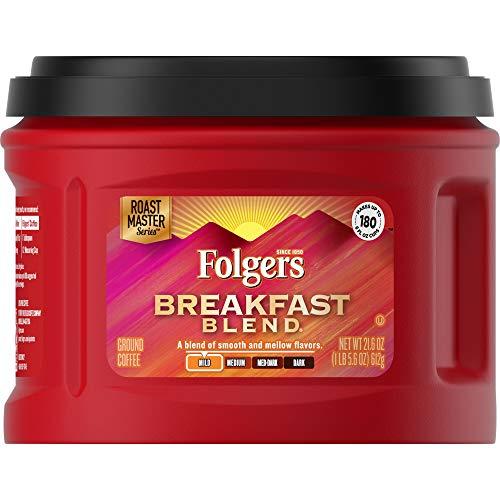 Folgers Breakfast Blend Mild Roast Ground Coffee, 21.6 Ounces (Pack of 3)