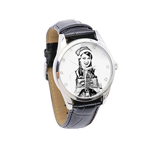 Reloj de Imagen Personalizado Reloj de Fotos Reloj de Hombre con Incrustaciones de Diamantes de imitación Reloj de Cuero(Bosquejo Negro Hombres-26cm)
