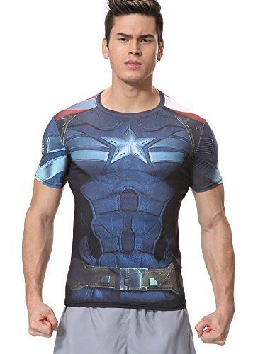 """Cody Lundin Männer T-Shirt Kurze à""""rmel Hemd Fitness Training Joggen Kompression Shirt America Superhelden Tee , Dunkelblau, M"""