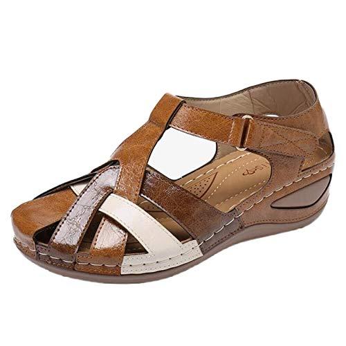 Damen Sandalen Riemchensandale Keilsandalen Basic Closed Toe Wedge Holz geschnitzt Sommer Outdoor Sandals(2-Beige/Coffee,40)