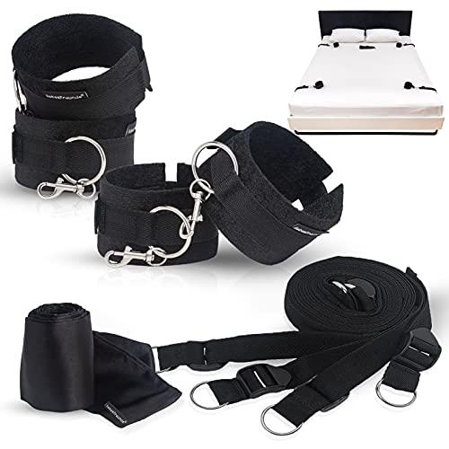 Bondage-Set Bett Fesseln Sex-Spielzeug für Paare I Extrem stabiles BDSM Fesselset mit Bettfesseln, Handschellen, Augenbinde