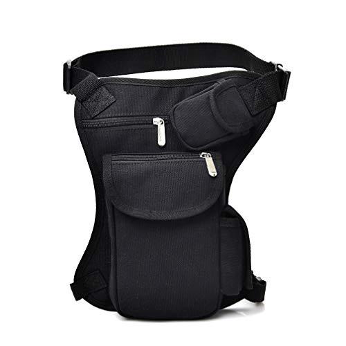 XUELI Canvas Tactical Military Waist Pack Pouch Outdoor Drop Leg Bag Waist Bag Fanny Packs Tactical Leg Bag Thigh Pouch Bag Crossbody Bag (Black-2)