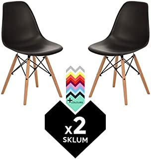 SKLUM Silla BRICH SCAND (Pack 2) - Negro Madera Natural- (Elige Color)