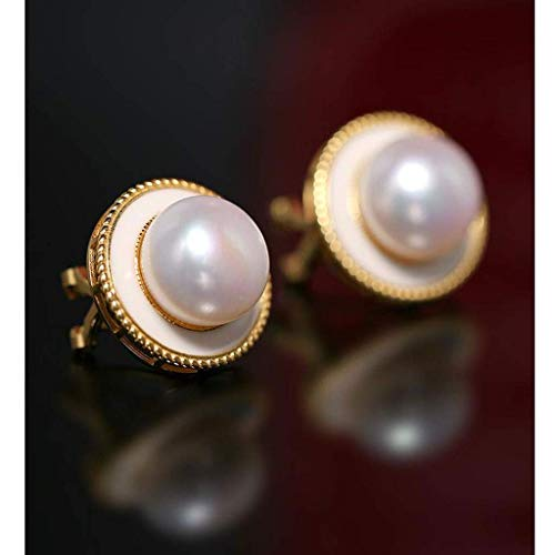 Fashionable and elegant, exquisite style, a good c Earring Ladies Pearl Earrings 11-12mm Large Grain Freshwater Pearl Earrings 925 Sterling Silver Atmospheric Fashion Earrings-White Fashion Jewelry