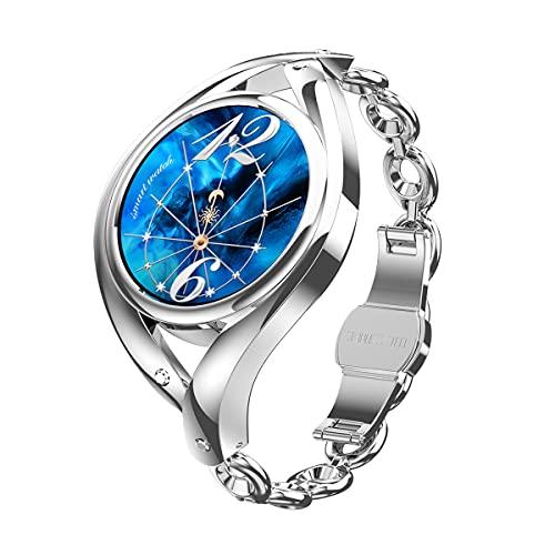 N \ A Relojes Inteligentes para Mujeres, Pantalla táctil Completa de 1.09', Reloj Inteligente para teléfonos Android y teléfonos iOS, podómetro Impermeable IP68, Reloj con Monitor de sueño (Dorado (