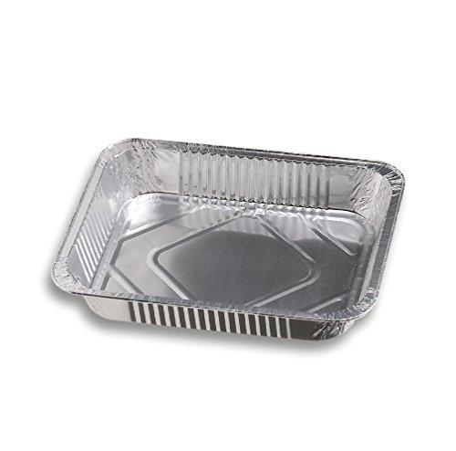 Vaschetta alluminio - Confezione da 100 vaschette rettangolari argentate con bordo G monouso per alimenti - Formato 111 C+C - Ideali come contenitori per piatti caldi da asporto in settori come gastronomia, sagre e ristorazione