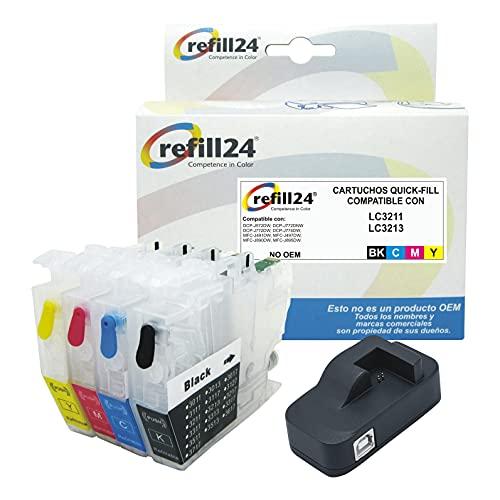 Cartuchos Recargables Compatible para Brother LC3211, LC3213 Negro y Color. Incluye reseteador.