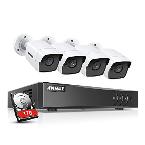 ANNKE Überwachungskamera Set mit 4 x 5MP Outdoor Kameras, Überwachungssystem mit 8-Kanal H.265+ DVR, 1TB Festplatte, USB 3.0-Backup,EXIR Nachtsicht,PC-Software, Browser-fähig Haus HD System
