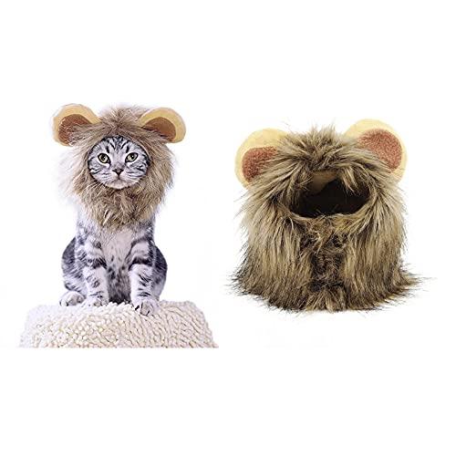 Disfraz de Halloween para Mascotas, Gorro de Melena de león para Gatitos, Cachorros, Perros, Ajustable, Lavable, cómodo, Elegante, Pelo de león, Halloween, Navidad, Pascua, Fiesta, Actividad