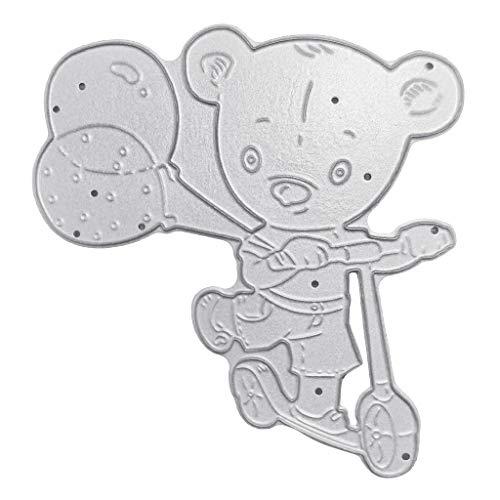 Xurgm Plantillas de troquelado Bear Balloon, todas las perforaciones de metal, troquelado, troquelado, para manualidades, tarjetas de scrapbooking, regalo