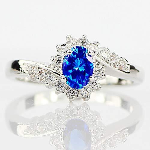 RVXZV 925 Silberringe für Frauen mit ovaler Form Blauer Saphir Edelstein Frau Edelschmuck 6 Königsblau