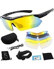 Miriqi gepolariseerde sportbril, fietsbril, sportieve zonnebril, UV400-bescherming voor heren en dames, met 5 wisselglazen, voor outdooractiviteiten zoals fietsen, hardlopen, klimmen, autorijden, vissen, golven