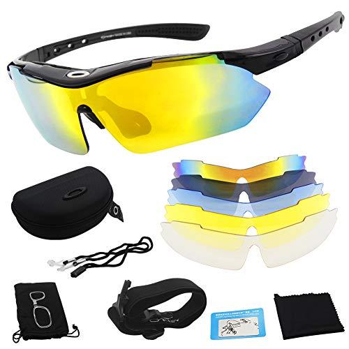 Miriqi Gafas de Sol polarizadas con 5 Lentes Intercambiables UV400 Protección Antivaho...