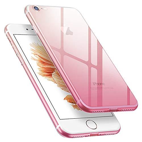 iphone SE ケース 第2世代 iPhone7 ケース iPhone8 ケース 黄変防止 薄くて軽い スマホケース グラデーション 全面保護 指紋防止 TPU超薄型 耐衝撃 Qi充電対応 【4.7インチ】ピンク