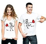 t-shirteria Coppia T-Shirt Innamorati Love - Baloon - Amore - Idea Regalo per Il Tuo Lui/la Tua lei