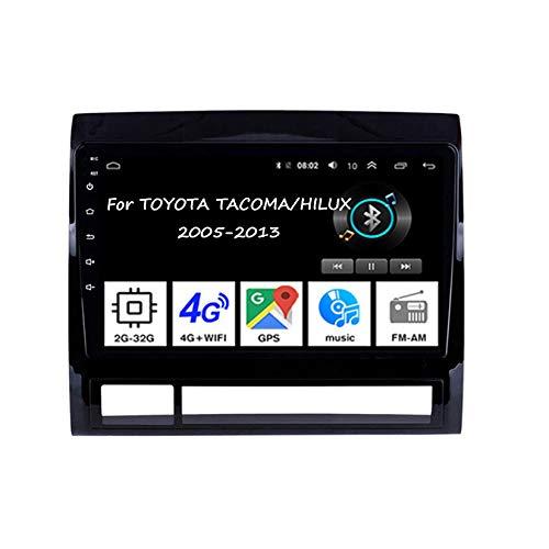 Android 10 Autoradio 9 Pulgadas Coche Radio De Coche Pantalla Tactil para Toyota Tacoma/Hilux 2005-2013 4 Cores 2G+32G con Pantalla Coche Conecta Y Reproduce Bluetooth Video Cámara Trasera
