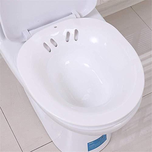 Tragbares Sitzbad, Perineale Badewanne über der Toilette zur Hämorrhoidenlinderung, für Patienten nach Episiotomie, Schwangere und ältere Menschen,White
