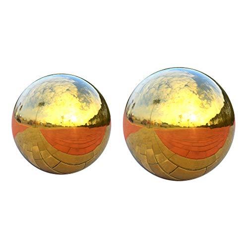 joyMerit 2X Gartenkugel Dekokugel Edelstahlkugel Gold glänzend, Perfekt Für Innen/Außen Deko - 80mm + 100mm
