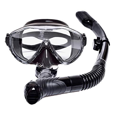 Ajuste Máscara de Snorkel Gafas de Buceo Hebilla de Vidrio Templado Completo Seco Equipo antiniebla Adultos 5 Color MUMUJIN (Color : Black)