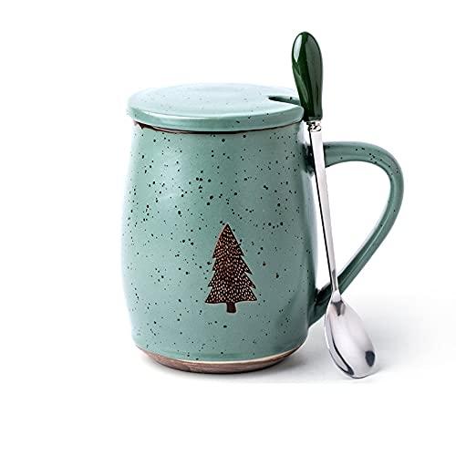 GYZD Taza de café con Tapa y Cuchara,Verde